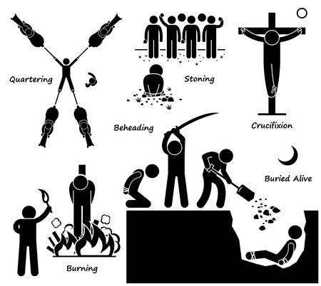 Wykonanie kary śmierci Kara Kapitał Starożytne metody rysunek stick Piktogram Ikony Ilustracje wektorowe