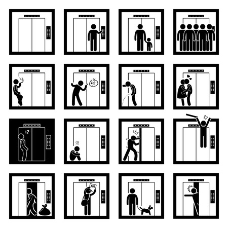 Things that People do inside Elevator Lift Stick Figure Pictogram Icons