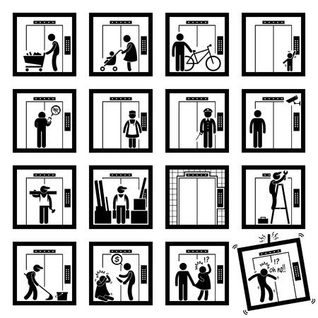 figura humana: Las cosas que la gente hace en el interior Ascensor Ascensor Figura Stick Pictograma Iconos (segunda versi�n) Vectores