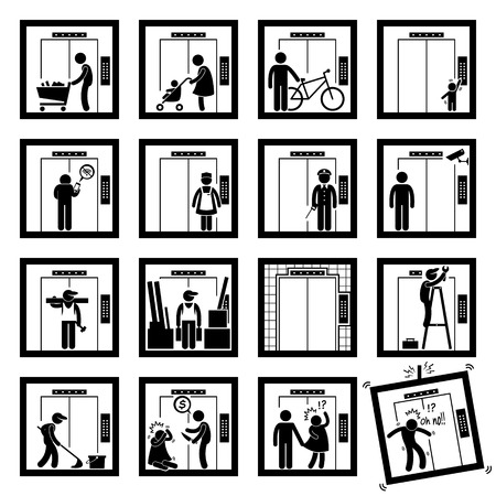 Things that People do inside Elevator Lift Stick Figure Pictogram Icons (second version) Vector