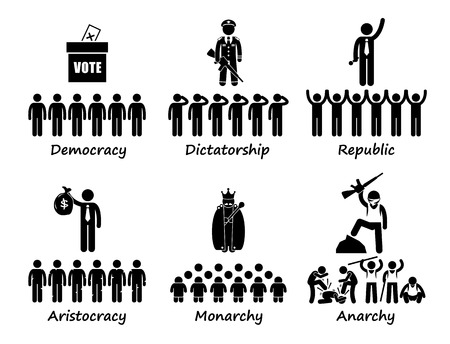 government: Type of Government - Democracy Dictatorship Republic Aristocracy Monarchy Anarchy Stick Figure Pictogram Icons
