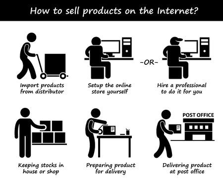 La venta de productos en línea Proceso de Paso a Paso Figura Stick Pictograma Iconos Foto de archivo - 33630060