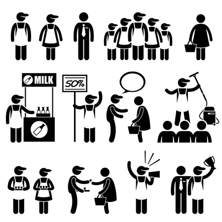Promoter Salesman Customers at Shopping Mall Stick Figure Pictogram Icons Illustration