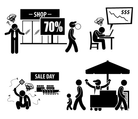 slow down: Bad Poor Business Day Stick Figure Pictogram Icons