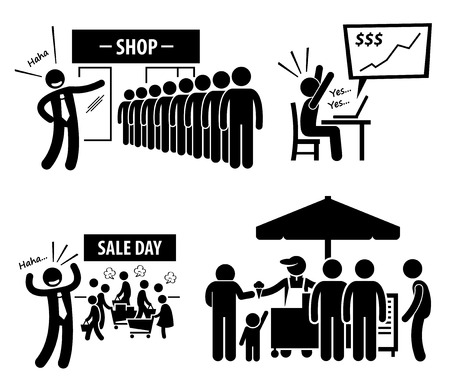 human figure: Good Business Day Stick Figure Pictogram Icons