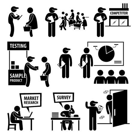 Análisis Encuesta de Mercado de Empresas de Investigación Figura Stick Pictograma Iconos