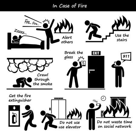 evacuatie: In geval van brand noodplan Stick Figure Pictogram Pictogrammen Stock Illustratie