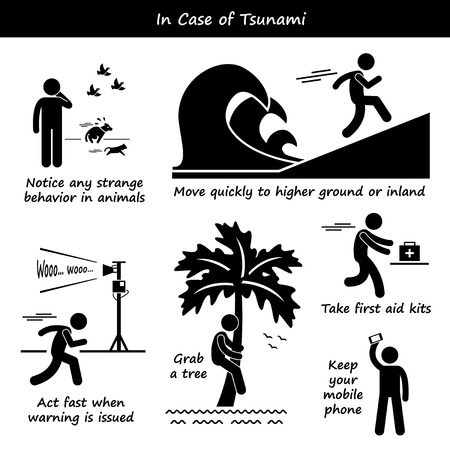 disaster preparedness: In Case of Tsunami Emergency Plan Stick Figure Pictogram Icons