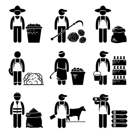 agricultural: Commodities Food Agricultural Grains Meat Stick Figure Pictogram Icons