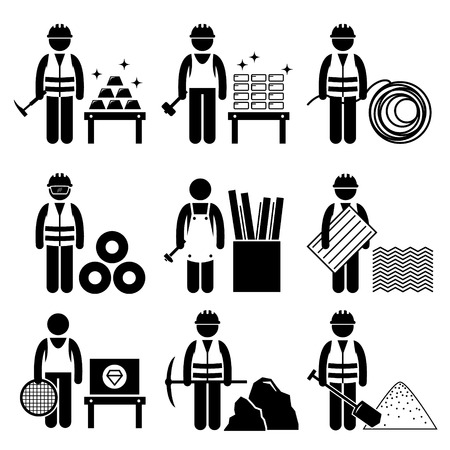 miner: Commodities Precious Industrial Metal Stick Figure Pictogram Icons