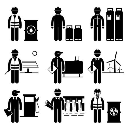 gases: Commodities Energy Fuel Power Stick Figure Pictogram Icons Illustration