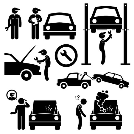 broken telephone: Car Repair Services Workshop Mechanic Stick Figure Pictogram Icons Illustration