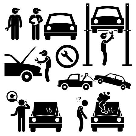 Car Repair Services Workshop Mechanic Stick Figure Pictogram Icons Vectores