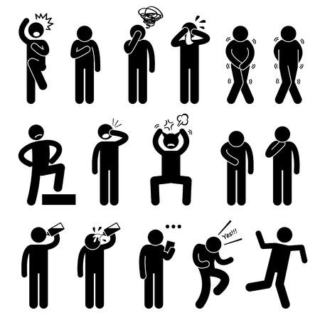 chateado: A��o Humana Poses Posturas figura da vara Icons pictograma Ilustra��o