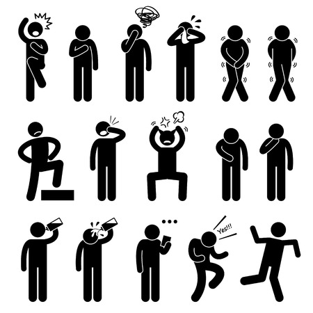 visage homme: Human Action Poses Postures Stick Figure pictogrammes Ic�nes Illustration