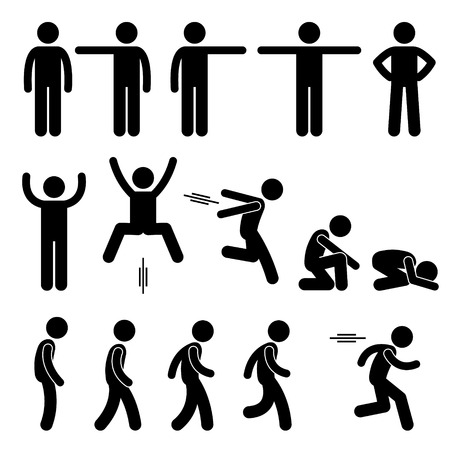 squatting down: Human Action Poses Postures Stick Figure Pictogram Icons
