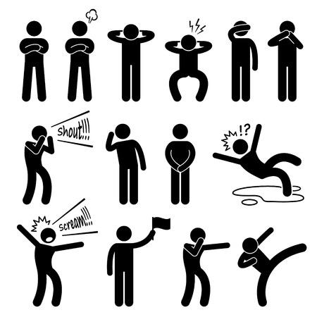 Ludzkie działanie pozuje postawy ikon stick rysunek Piktogram