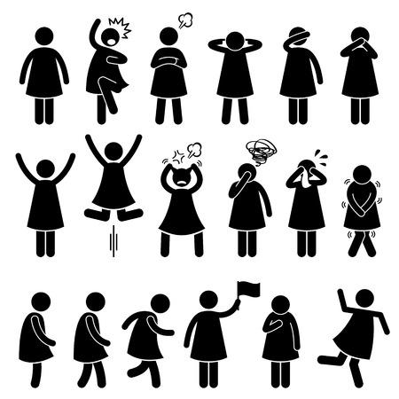 lenguaje corporal: Acción hembra humano mujer Poses Posturas Figura Stick Pictograma Iconos Vectores