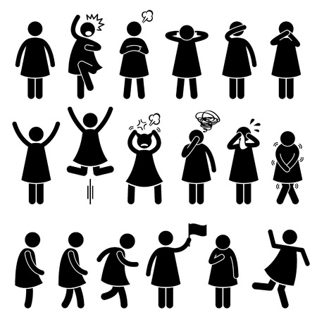 Human Female Girl Woman Action Poses Postures Stick Figure Pictogram Icons Vector