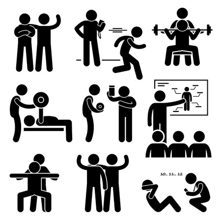 personal trainer: Personal Gym Coach Trainer Instructor Exercise Workout Stick Figure Pictogram Icons Illustration