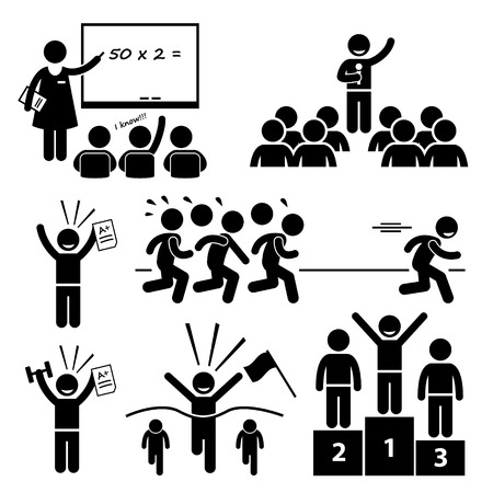 leadership: Top Student at School Best Outstanding Special Kid Stick Figure Pictogram Icons Illustration