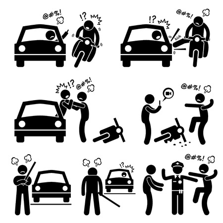 quarrel: Road Bully Driver Rage Stick Figure Pictogram Icons Illustration