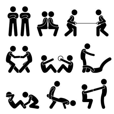stretching: Ejercicio del entrenamiento con un compañero Figura Stick Pictograma Iconos