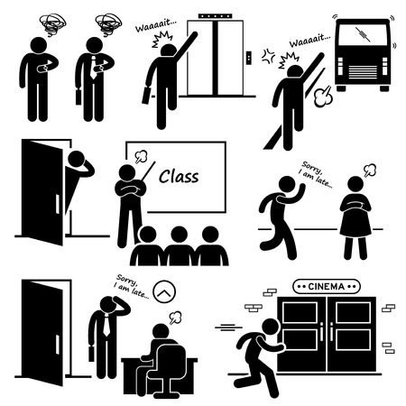 Late and Rushing for Elevator, Bus, Class, Date, Job Interview, and Movie Cinema Stick Figure Pictogram Icons Vector
