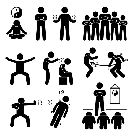 healing chi spiritual: Qigong Qi Energy Power Stick Figure Pictogram Icons Illustration