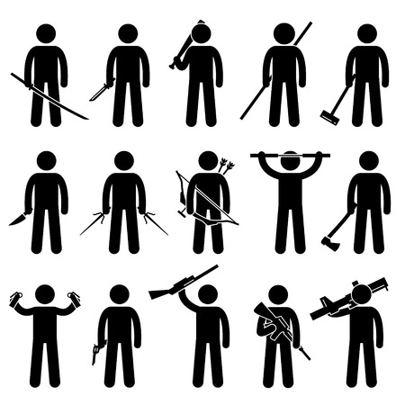 machine gun: Man Holding and Using Weapons Stick Figure Pictogram Icons