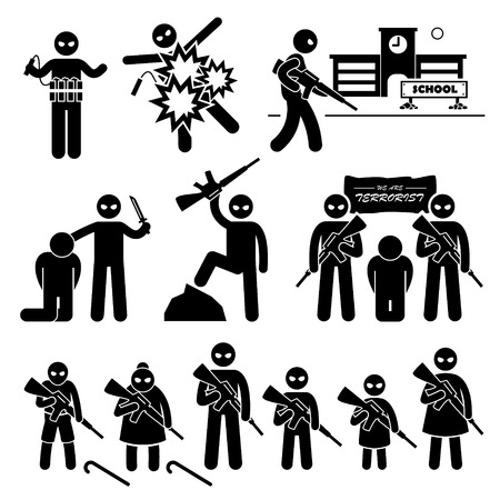 kidnapping: Terrorist Terrorism Suicide Bomber Stick Figure Pictogram Icons