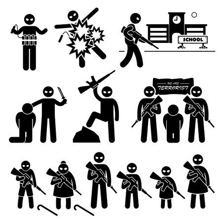 hijacker: Terrorista Bombardero terrorismo suicida Figura Stick Pictograma Iconos Vectores