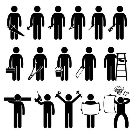 toolbox: Handyman Worker using DIY work tools Stick Figure Pictogram Icons