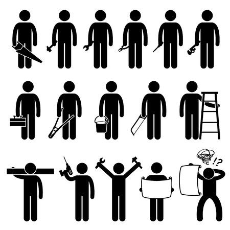 fontanero: Manitas Trabajador que usa herramientas de trabajo de bricolaje Stick Figure Pictograma Iconos