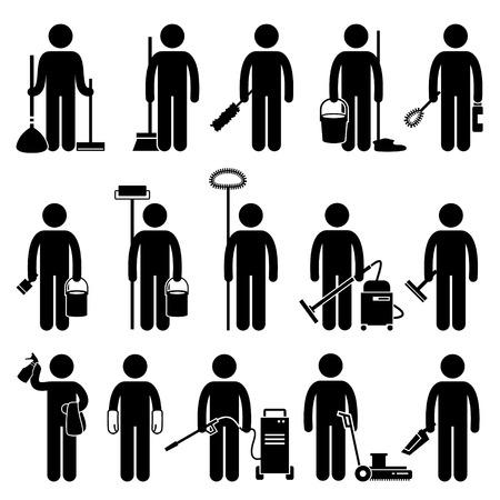 gospodarstwo domowe: Cleaner Człowiek z czyszczenia narzędzi i sprzętu ikon stick rysunek Włączenie symbolu