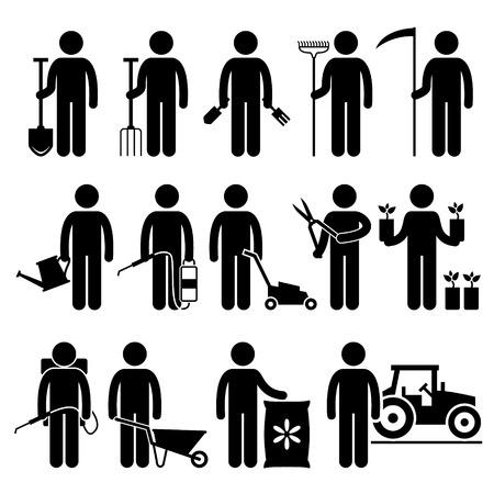 giardinieri: Gardener lavoratore uomo con strumenti di giardinaggio ed apparecchiature Stick Figure pittogrammi Icone Vettoriali