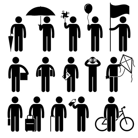Man with Random Objects Stick Figure Pictogram Icons Vector