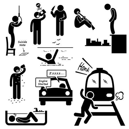 strichm�nnchen: Suicidal Commit Suicide Methoden Strichm�nnchen-Piktogramm Icons
