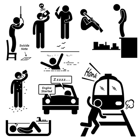 life and death: Suicidal Commit Suicide Methods Stick Figure Pictogram Icons
