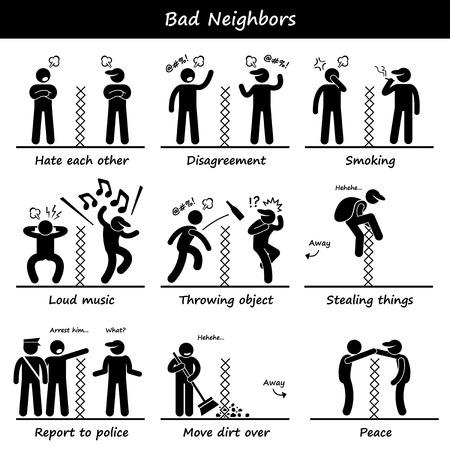 Bad Neighbors Stick Figure Pictogram Icons Illustration