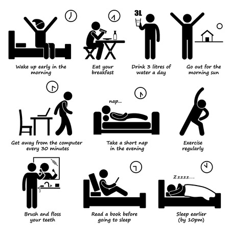 early: Healthy Lifestyles Daily Routine Tips Stick Figure Pictogram Icons Illustration