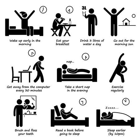 lifestyle: Zdravý životní styl denní režim Tipy Stick Figure Piktogram Icons Ilustrace