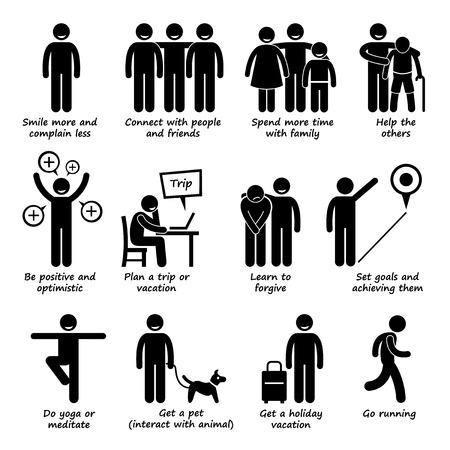 Jak být šťastnější panáček Piktogram ikony Ilustrace
