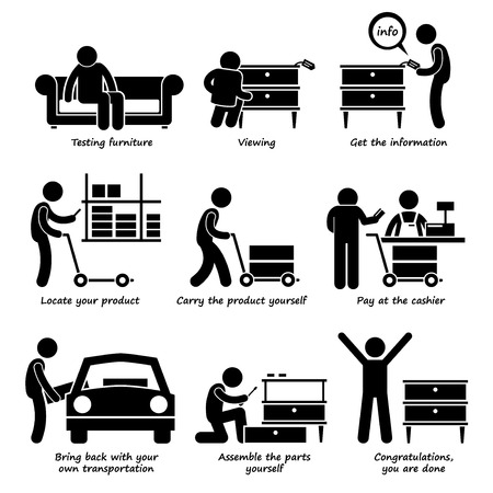 carry: Buy Furniture From Self Service Store Step by Steps Stick Figure Pictogram Icons