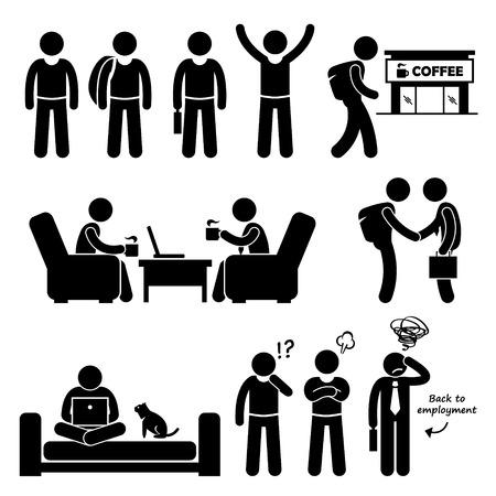 pictogramme: Freelancer indépendants indépendants travailleurs Stick Figure pictogrammes Icônes