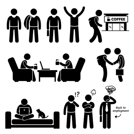 Freelancer Self-Employed Independent Worker Stick Figure Pictogram Icons Vector