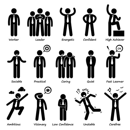 self esteem: Businessman Attitude Personalities Characters Stick Figure Pictogram Icons