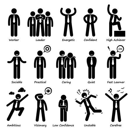 empresario: Personalidades Empresario Actitud Caracteres Figura del palillo del pictograma Iconos Vectores