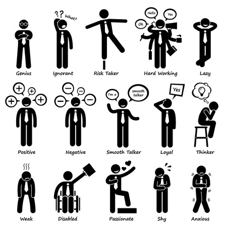 lazy: Businessman Attitude Personalities Characters Stick Figure Pictogram Icons
