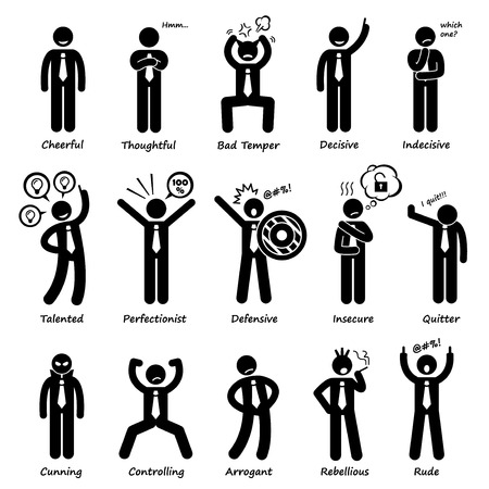 actitud: Personalidades Empresario Actitud Caracteres Figura del palillo del pictograma Iconos Vectores
